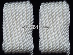 2 White Twisted 3/8 In X 20and039 Ft Boat Marine Dock Lines Mooring Docking Ropes