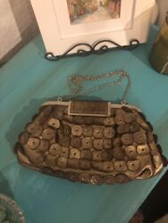 Annabel Ingall Paillette Bronze Clutch-Shoulder Evening Bag Silver Chain EUC