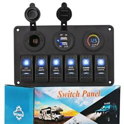 WATERWICH 6 Gang Marine Toggle Rocker Switch Panel waterproof with Digital...