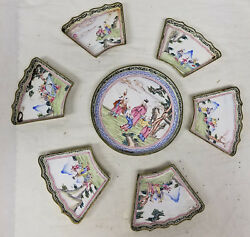 Antique Chinese Peking Canton Enamel Sweetmeats Dishes Landscape Figures As Is