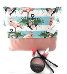 Makeup Pouch Cosmetics Bag Organizer Travel Toiletry Kit with Flamingo...