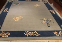 Gorgeous Hand Knotted Chinese Design 9' X 12' Blue 100 Wool Area Rug 1974