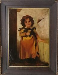 Henri Victor Regnault France 1810-1878 Large O/c Young Peasant Girl W/ Flower