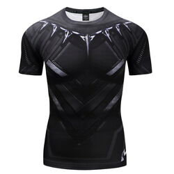Marvel T-Shirt Black Panther 3D Printed Tee Gym Fitness High Elastic Muscle Top