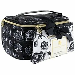 Adrienne Vittadini Makeup Bag Set: Nylon Carry On Toiletry & Cosmetic Train Case