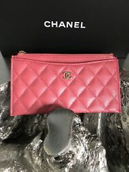 NWT CHANEL 18S Pink Caviar Phone Holder Zip Wallet Card O-Case 2018 Pouch NEW