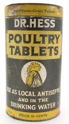 Dated 1929 Dr. Hess Poultry Tablet Advertising Tin Unopened Rooster Nr