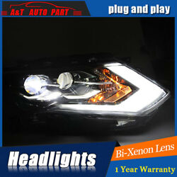 2Pcs Headlights assembly For Nissan Rogue Bi-xenon Lens Projector LED DRL 17-18