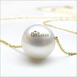10-11mm White Real Australian South Sea Pearl Necklace 18k Yellow Gold Chain 16