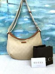 $795 GUCCI Beige Monogram GG Web Nylon Leather Hobo Crossbody Bag Womens SALE!