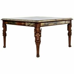 Antique Art Deco Carved Wood And Mirrored Glass Coffee Occasional Table