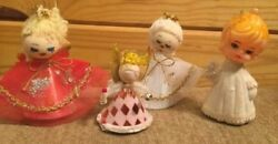 Lot of 4 VINTAGE CHRISTMAS ANGEL  ORNAMENTS FELT 3 CARDBOARD1 PLASTIC