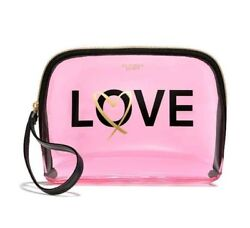 VICTORIAS SECRET LOVE BEAUTY COSMETIC CLEAR TRAVEL BAG°° BRAND NEW°° $22.95