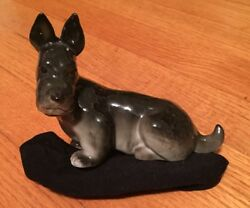 Lomonosov Porcelain Figurine~Scottish Terrier Dog~Black & Gray~ Made in Russia