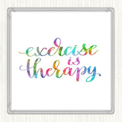 Exercise Is Therapy Rainbow Quote Drinks Mat Coaster