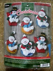Bucilla SNOW DAY FUN DAY ORNAMENTS Felt Applique Snowmen Kit #86826 (Set of 6)