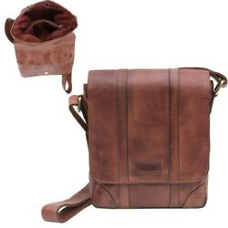 Mens Gents Vintage Brown Leather Small Messenger Shoulder Bag Tablet Case Manbag