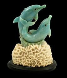 Blue Quartz Dolphins Stone Carving - Inventory Clearance