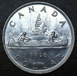 Old Canadian Coin 1946 - 1 Dollar - .800 Silver - George Vi- High Grade- Lustre