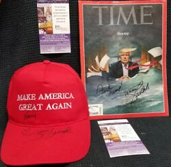 Stormy Daniels Autographed Make America Horny Again Hat And Time Magazine. Jsa