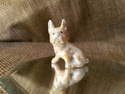 Vintage Bulldog Miniature Ceramic Figurine Japan c2