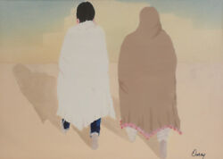 Ouray Meyers American 1938 Andndash 2016 Watercolor Painting New Mexico Pueblo Figures