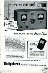 1948 Print Ad Of Triplett Electrical Instrument Co Model 3296 Modulation Monitor