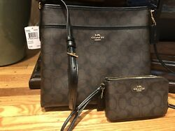 NWT Coach File Sling Bag F58297 & Used Coach Double Zip  Wallet Wristlet F16109