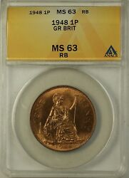 1948 Great Britain One Penny 1 Pence 1p Coin Anacs Ms-63 Rb Red Brown