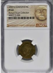 1950 British Honduras 5 Cents, Ngc Pf 64, Rare In Proof Finest Certified Example