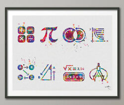 Math Symbol Art Watercolor Print Math Teacher Gift Math Art Nerd Student Dorm