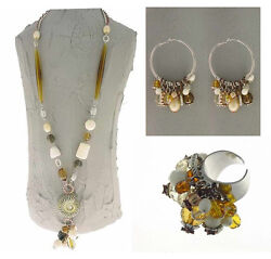 Authentic Italian Made Fashion Costume Jewelry Set Necklace Earrings Ring