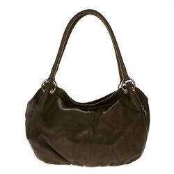 Cosette Italian Made Moss Brown Soft Leather Slouchy Hobo Shoulder Bag Purse