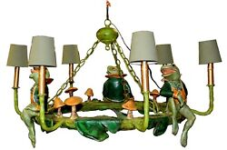 Vintage Bill Huebbe 1988 Frog And Mushroom Chandelier With Shades Signed And Dated
