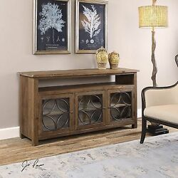 DEARBORN CREDENZA  WOOD FARMHOUSE STYLE STORAGE MEDIA TV CABINET CONSOLE