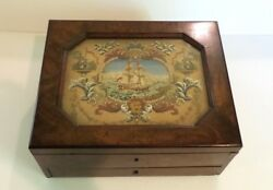 19th C. Rosewood Games Box, Inset Needlework, Lithographed Cards
