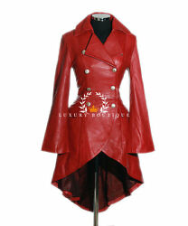 Valentina Red Ladies New Military Corset Style Designer Real Leather Flare Coat