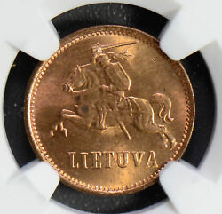 Lithuania 1936 2 Centas Ngc Ms64rd Rare In Red Ng0490 Combine Shipping