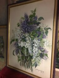 Andnbsppainting Of Purple And White Flower Arrangement In Perfect Condition By Nina H