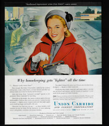 1948 Vintage Print Ad 40and039s Union Carbide Illustration Art Woman In Red Coat