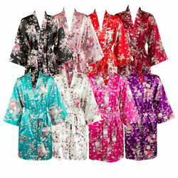 USA Bridesmaid Robes Floral  Satin Robes Bridal Party Gifts Silk Floral Robe  $5.99