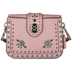 COACH WOMEN'S LEATHER CROSS-BODY MESSENGER SHOULDER BAG WESTERN PINK 0DB