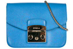 FURLA WOMEN'S LEATHER CROSS-BODY MESSENGER SHOULDER BAG METROPOLIS BLUE 52F
