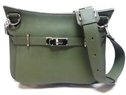 Authentic HERMES Jypsiere Gypsy 31 Shoulder Cross Body Bag  Green TOGO Leather