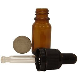 15/30/120 Pcs 10ml Round Amber Glass Bottles W Glass Droppers For Essential Oils