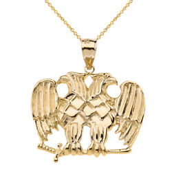 14k Solid Yellow Gold Masonic Double Headed Eagle Of Lagash Pendant Necklace