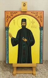 """Religious Russian Or Greek Orthodox Style Painted Icon On Wood 9""""x12 Church"""