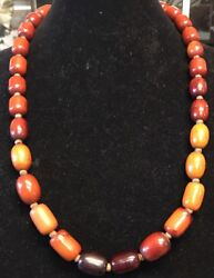 """1930's Butterscotch And Cherry Bakelite Amber Necklace And Prayer Beads 30""""/130g"""