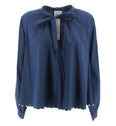 Blue shirt for women with bow and pearls My Twin Twinset JA72TNBLU