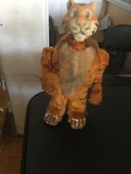 1950and039s Japan Marx Esso Wind Up Clock Work Standing Walking Tiger Animal Toy D23